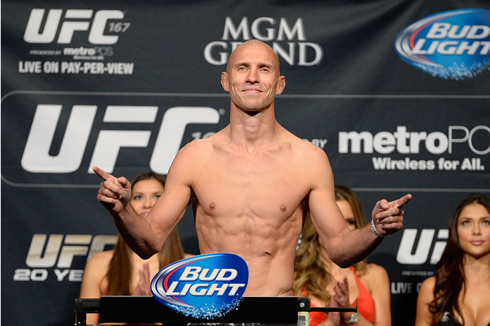 LAS VEGAS, NEVADA - NOVEMBER 15:  Donald Cerrone weighs in during the UFC 167 weigh-in event at the MGM Grand Garden Arena on November 15, 2013 in Las Vegas, Nevada. (Photo by Jeff Bottari/Zuffa LLC/Zuffa LLC via Getty Images)
