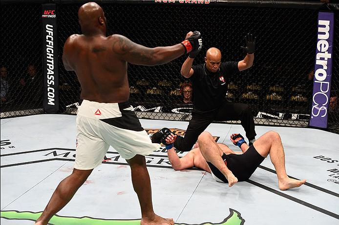 LAS VEGAS, NV - FEBRUARY 06:  Derrick Lewis (L) celebrates after his knockout victory over Damian Grabowski of Poland in their heavyweight bout during the UFC Fight Night event at MGM Grand Garden Arena on February 6, 2016 in Las Vegas, Nevada.  (Photo by Jeff Bottari/Zuffa LLC/Zuffa LLC via Getty Images)