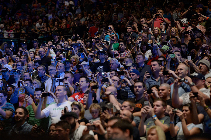 LAS VEGAS, NEVADA - NOVEMBER 15:  A general view of the crowd during the UFC 167 weigh-in event at the MGM Grand Garden Arena on November 15, 2013 in Las Vegas, Nevada. (Photo by Jeff Bottari/Zuffa LLC/Zuffa LLC via Getty Images)