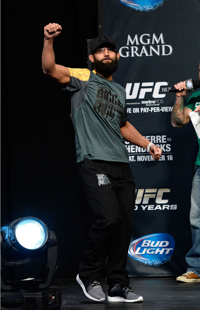 LAS VEGAS, NEVADA - NOVEMBER 15:  Johny Hendricks interacts with the crowd during the UFC 167 weigh-in event at the MGM Grand Garden Arena on November 15, 2013 in Las Vegas, Nevada. (Photo by Jeff Bottari/Zuffa LLC/Zuffa LLC via Getty Images)