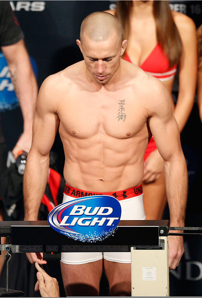 LAS VEGAS, NV - NOVEMBER 15:  Georges St-Pierre weighs in during the UFC 167 weigh-in inside the MGM Grand Garden Arena on November 15, 2013 in Las Vegas, Nevada. (Photo by Josh Hedges/Zuffa LLC/Zuffa LLC via Getty Images)