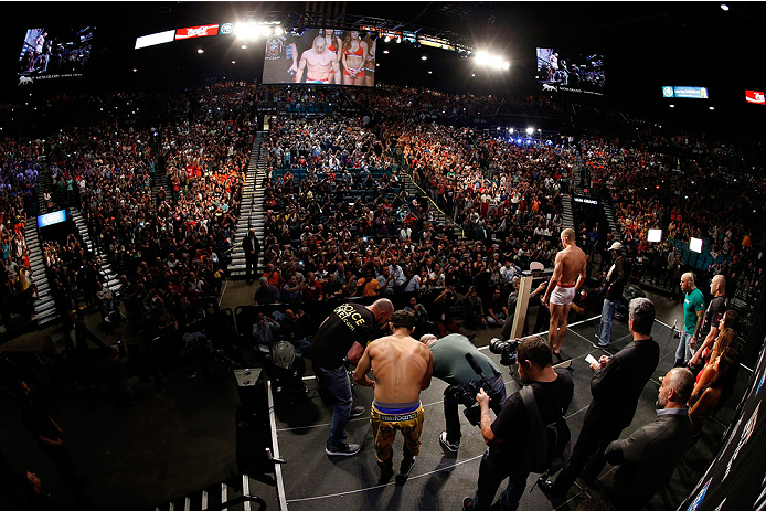 LAS VEGAS, NV - NOVEMBER 15:  A general view of the arena as UFC welterweight champion Georges St-Pierre weighs in during the UFC 167 weigh-in inside the MGM Grand Garden Arena on November 15, 2013 in Las Vegas, Nevada. (Photo by Josh Hedges/Zuffa LLC/Zuffa LLC via Getty Images)
