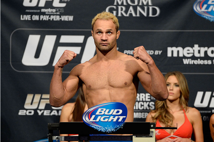 LAS VEGAS, NEVADA - NOVEMBER 15:  Josh Koscheck weighs in during the UFC 167 weigh-in event at the MGM Grand Garden Arena on November 15, 2013 in Las Vegas, Nevada. (Photo by Jeff Bottari/Zuffa LLC/Zuffa LLC via Getty Images)
