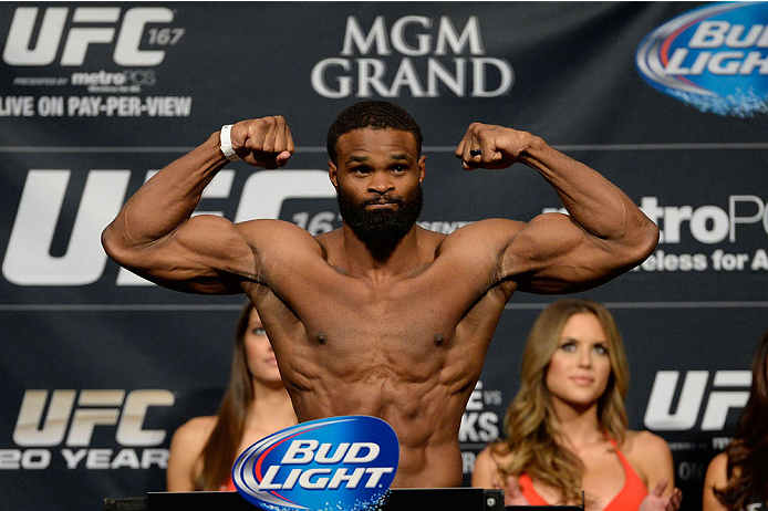 LAS VEGAS, NEVADA - NOVEMBER 15:  Tyron Woodley weighs in during the UFC 167 weigh-in event at the MGM Grand Garden Arena on November 15, 2013 in Las Vegas, Nevada. (Photo by Jeff Bottari/Zuffa LLC/Zuffa LLC via Getty Images)