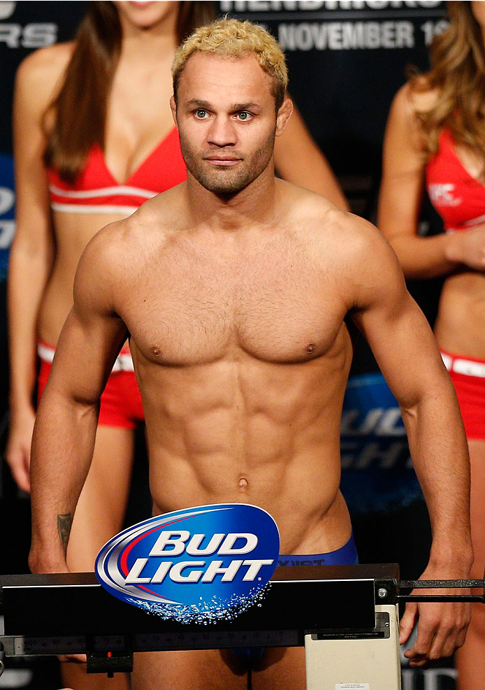 LAS VEGAS, NV - NOVEMBER 15:  Josh Koscheck weighs in during the UFC 167 weigh-in inside the MGM Grand Garden Arena on November 15, 2013 in Las Vegas, Nevada. (Photo by Josh Hedges/Zuffa LLC/Zuffa LLC via Getty Images)