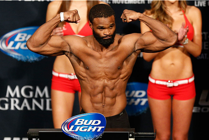 LAS VEGAS, NV - NOVEMBER 15:  Tyron Woodley weighs in during the UFC 167 weigh-in inside the MGM Grand Garden Arena on November 15, 2013 in Las Vegas, Nevada. (Photo by Josh Hedges/Zuffa LLC/Zuffa LLC via Getty Images)