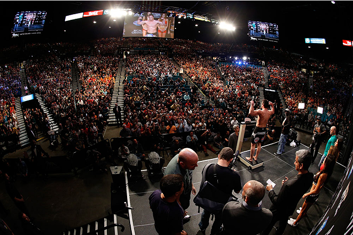 LAS VEGAS, NV - NOVEMBER 15:  A general view of the arena as Chael Sonnen weighs in during the UFC 167 weigh-in inside the MGM Grand Garden Arena on November 15, 2013 in Las Vegas, Nevada. (Photo by Josh Hedges/Zuffa LLC/Zuffa LLC via Getty Images)