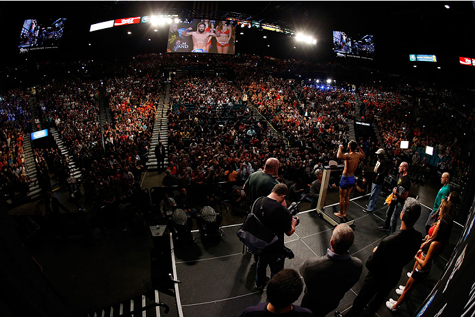 LAS VEGAS, NV - NOVEMBER 15:  A general view of the arena as UFC welterweight title challenger Johny Hendricks weighs in during the UFC 167 weigh-in inside the MGM Grand Garden Arena on November 15, 2013 in Las Vegas, Nevada. (Photo by Josh Hedges/Zuffa LLC/Zuffa LLC via Getty Images)