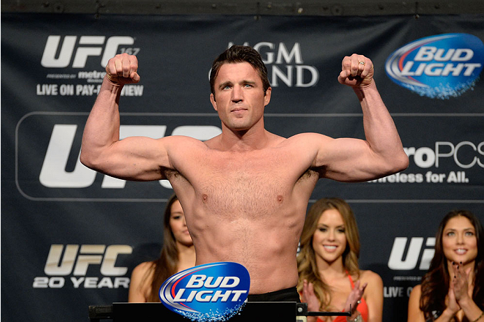 LAS VEGAS, NEVADA - NOVEMBER 15:  Chael Sonnen weighs in during the UFC 167 weigh-in event at the MGM Grand Garden Arena on November 15, 2013 in Las Vegas, Nevada. (Photo by Jeff Bottari/Zuffa LLC/Zuffa LLC via Getty Images)