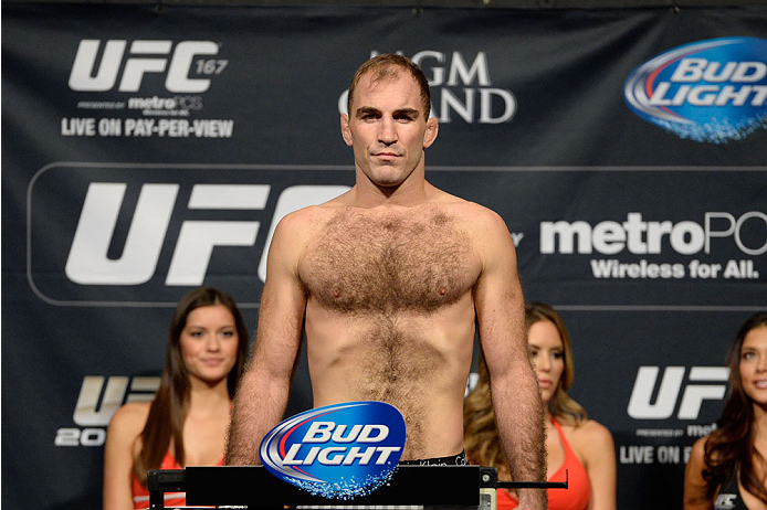 LAS VEGAS, NEVADA - NOVEMBER 15:  Brian Ebersole weighs in during the UFC 167 weigh-in event at the MGM Grand Garden Arena on November 15, 2013 in Las Vegas, Nevada. (Photo by Jeff Bottari/Zuffa LLC/Zuffa LLC via Getty Images)