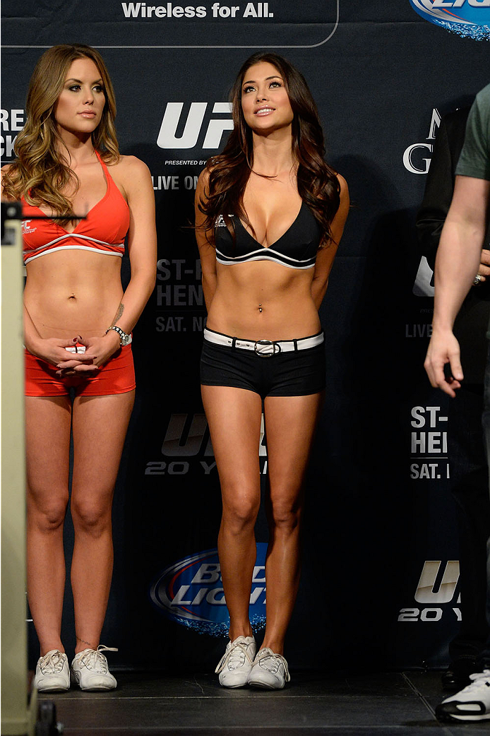 LAS VEGAS, NEVADA - NOVEMBER 15:  UFC Octagon girls Arianny Celeste (R) and Brittney Palmer (L) weighs in during the UFC 167 weigh-in event at the MGM Grand Garden Arena on November 15, 2013 in Las Vegas, Nevada. (Photo by Jeff Bottari/Zuffa LLC/Zuffa LLC via Getty Images)
