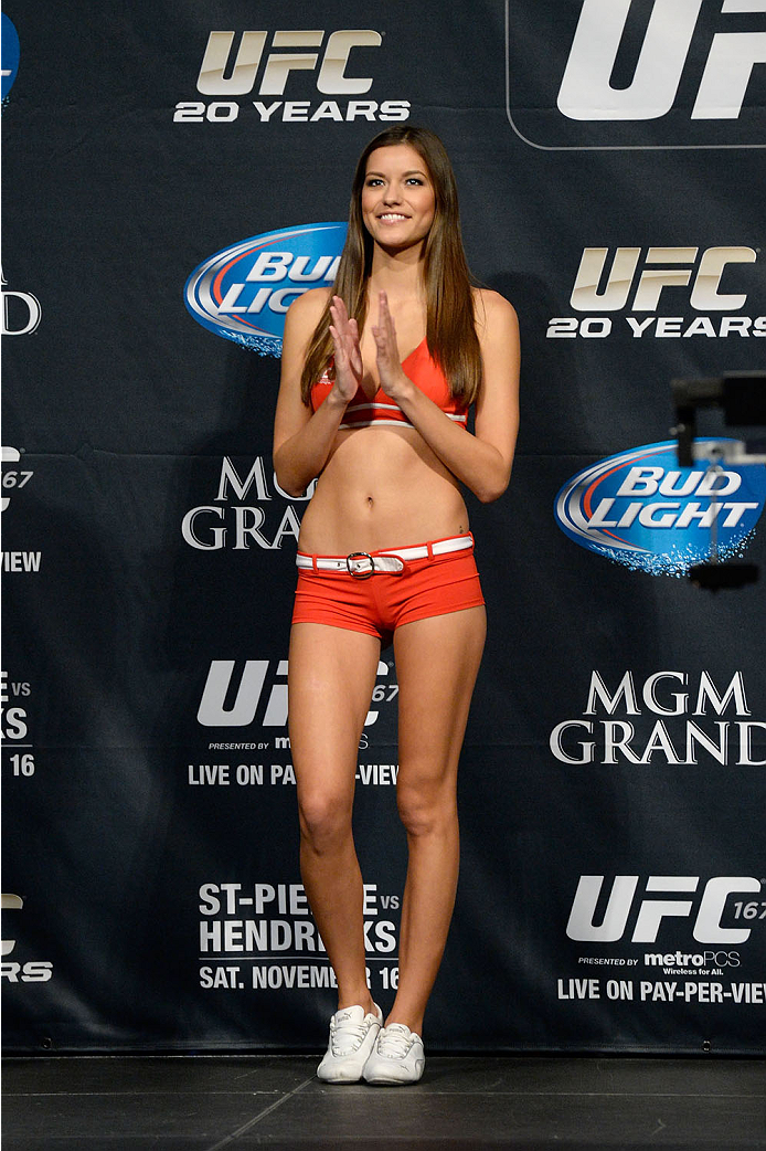 LAS VEGAS, NEVADA - NOVEMBER 15:  UFC Octagon Girl Vanessa Hanson stands on stage during the UFC 167 weigh-in event at the MGM Grand Garden Arena on November 15, 2013 in Las Vegas, Nevada. (Photo by Jeff Bottari/Zuffa LLC/Zuffa LLC via Getty Images)