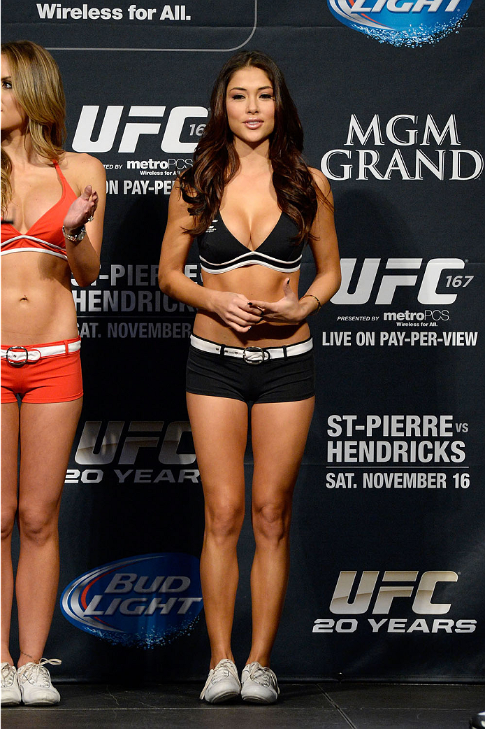 LAS VEGAS, NEVADA - NOVEMBER 15:  UFC Octagon Girl Arianny Celeste stands on stage during the UFC 167 weigh-in event at the MGM Grand Garden Arena on November 15, 2013 in Las Vegas, Nevada. (Photo by Jeff Bottari/Zuffa LLC/Zuffa LLC via Getty Images)