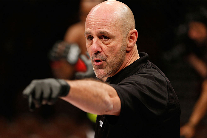 LAS VEGAS, NV - NOVEMBER 30:  Referee Yves Lavigne introduces Sean Spencer and Drew Dober before their welterweight fight during The Ultimate Fighter season 18 live finale inside the Mandalay Bay Events Center on November 30, 2013 in Las Vegas, Nevada. (Photo by Josh Hedges/Zuffa LLC/Zuffa LLC via Getty Images) *** Local Caption *** Yves Lavigne