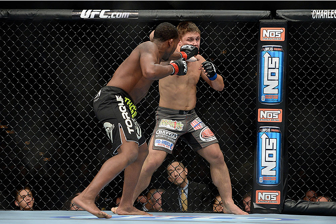 LAS VEGAS, NV - NOVEMBER 30:  (L-R) Sean Spencer punches Drew Dober in their welterweight fight during The Ultimate Fighter season 18 live finale inside the Mandalay Bay Events Center on November 30, 2013 in Las Vegas, Nevada. (Photo by Jeff Bottari/Zuffa LLC/Zuffa LLC via Getty Images) *** Local Caption *** Sean Spencer; Drew Dober