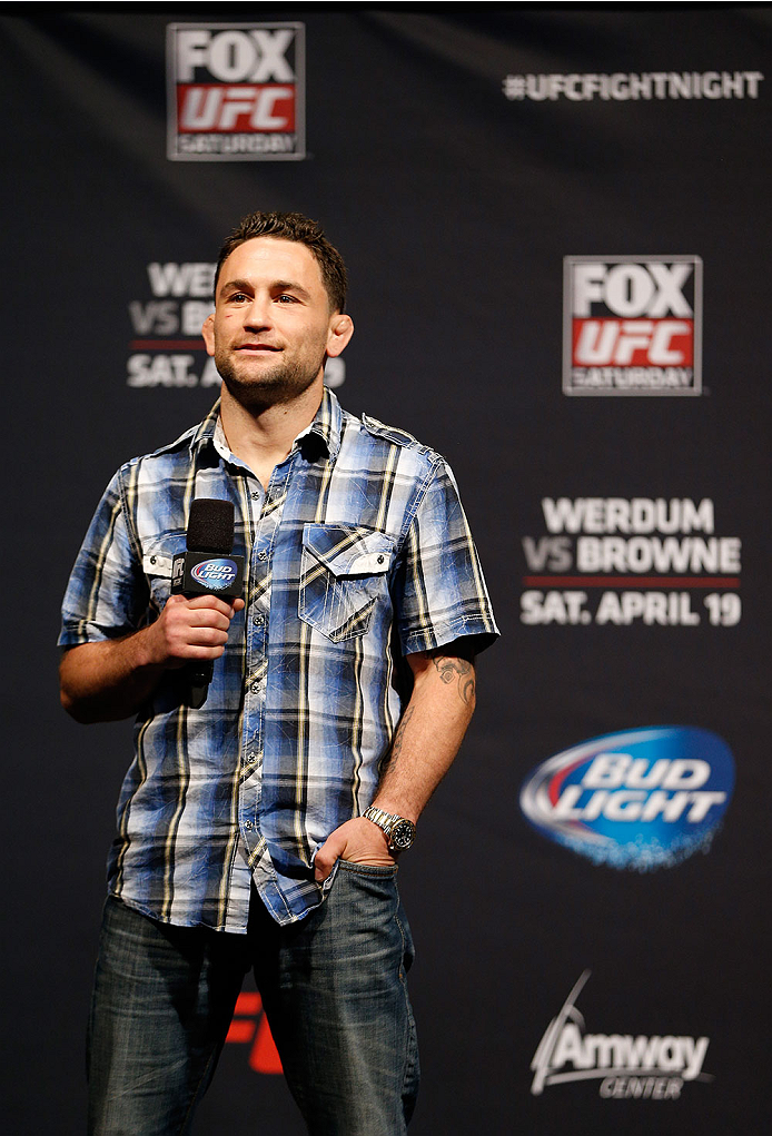 ORLANDO, FL - APRIL 18:  Former UFC lightweight champion Frankie Edgar interacts with fans during a Q&A session before the FOX UFC Saturday weigh-in at the Amway Center on April 18, 2014 in Orlando, Florida. (Photo by Josh Hedges/Zuffa LLC/Zuffa LLC via Getty Images)