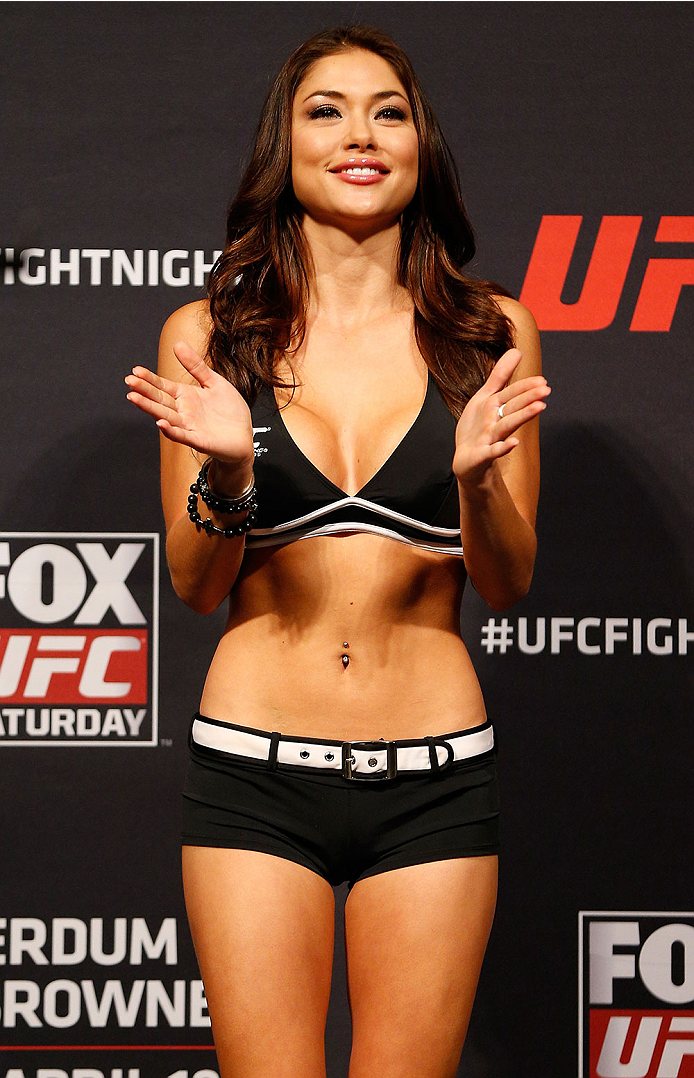 ORLANDO, FL - APRIL 18:  UFC Octagon Girl Arianny Celeste stands on stage during the FOX UFC Saturday weigh-in at the Amway Center on April 18, 2014 in Orlando, Florida. (Photo by Josh Hedges/Zuffa LLC/Zuffa LLC via Getty Images)