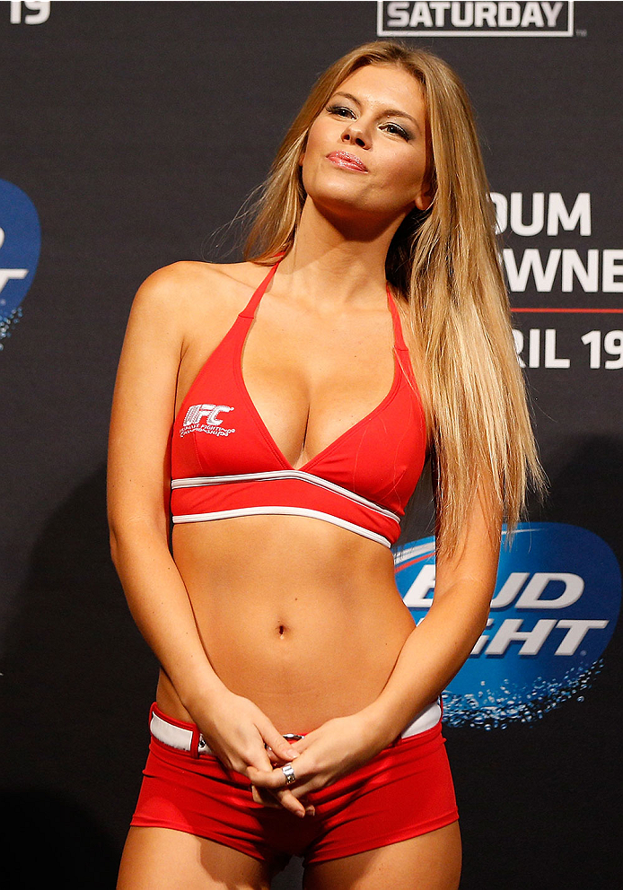 ORLANDO, FL - APRIL 18:  UFC Octagon Girl Chrissy Blair stands on stage during the FOX UFC Saturday weigh-in at the Amway Center on April 18, 2014 in Orlando, Florida. (Photo by Josh Hedges/Zuffa LLC/Zuffa LLC via Getty Images)