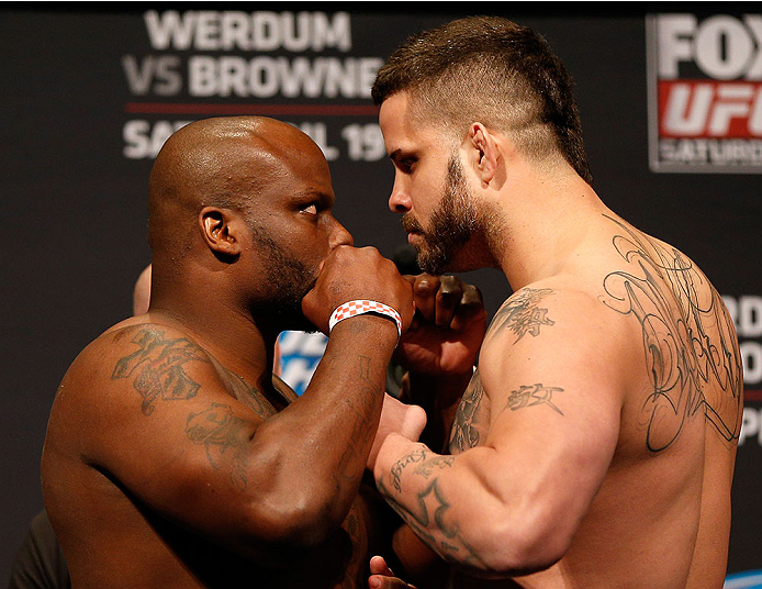 ORLANDO, FL - APRIL 18:  (L-R) Opponents Derrick Lewis and Jack May face off during the FOX UFC Saturday weigh-in at the Amway Center on April 18, 2014 in Orlando, Florida. (Photo by Josh Hedges/Zuffa LLC/Zuffa LLC via Getty Images)