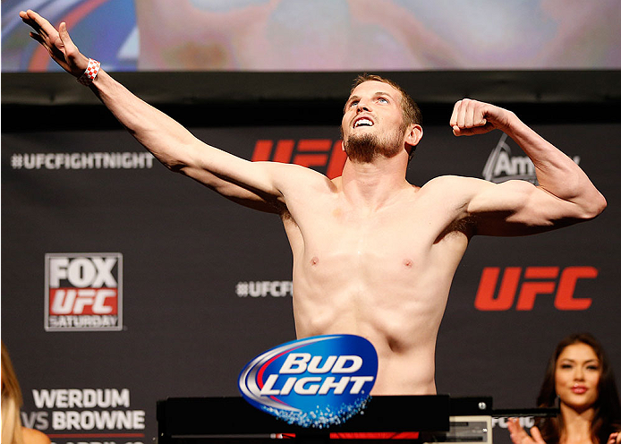 ORLANDO, FL - APRIL 18:  Chas Skelly weighs in during the FOX UFC Saturday weigh-in at the Amway Center on April 18, 2014 in Orlando, Florida. (Photo by Josh Hedges/Zuffa LLC/Zuffa LLC via Getty Images)