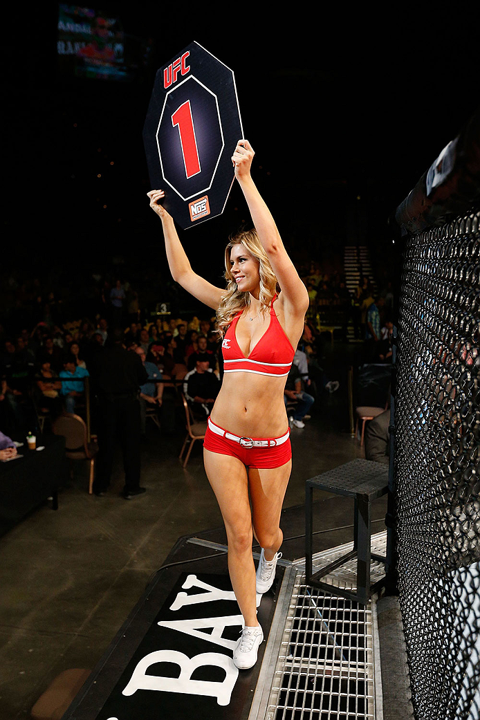 LAS VEGAS, NV - NOVEMBER 30:  UFC Octagon Girl Chrissy Blair signals the start of round one between Rani Yahya and Tom Niinimaki in their featherweight fight during The Ultimate Fighter season 18 live finale inside the Mandalay Bay Events Center on November 30, 2013 in Las Vegas, Nevada. (Photo by Josh Hedges/Zuffa LLC/Zuffa LLC via Getty Images) *** Local Caption *** Chrissy Blair