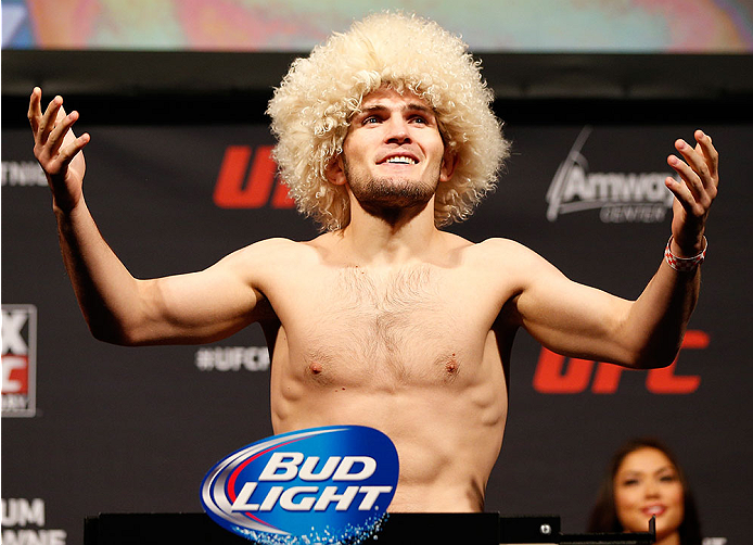 ORLANDO, FL - APRIL 18:  Khabib Nurmagomedov weighs in during the FOX UFC Saturday weigh-in at the Amway Center on April 18, 2014 in Orlando, Florida. (Photo by Josh Hedges/Zuffa LLC/Zuffa LLC via Getty Images)