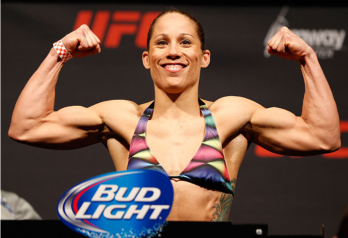 ORLANDO, FL - APRIL 18:  Liz Carmouche weighs in during the FOX UFC Saturday weigh-in at the Amway Center on April 18, 2014 in Orlando, Florida. (Photo by Josh Hedges/Zuffa LLC/Zuffa LLC via Getty Images)