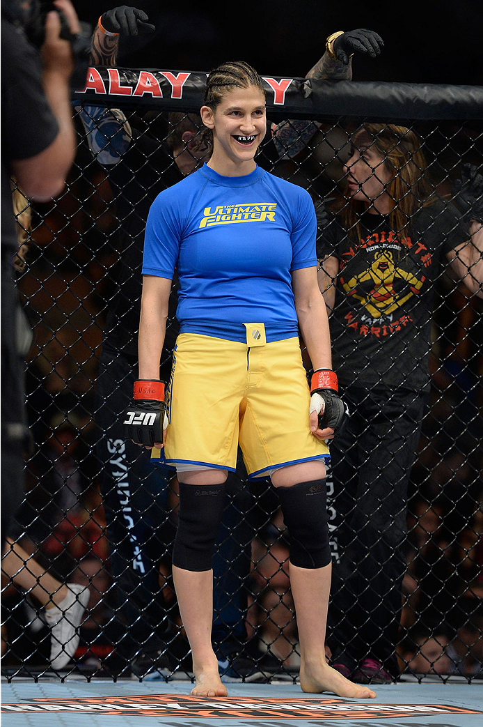 LAS VEGAS, NV - NOVEMBER 30:  Roxanne Modafferi stands in her corner before her fight against Raquel Pennington in their women's bantamweight fight during The Ultimate Fighter season 18 live finale inside the Mandalay Bay Events Center on November 30, 2013 in Las Vegas, Nevada. (Photo by Jeff Bottari/Zuffa LLC/Zuffa LLC via Getty Images) *** Local Caption *** Roxanne Modafferi