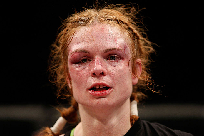 LAS VEGAS, NV - NOVEMBER 30:  Peggy Morgan looks looks on after being defeated by Jessamyn Duke in their women's bantamweight fight during The Ultimate Fighter season 18 live finale inside the Mandalay Bay Events Center on November 30, 2013 in Las Vegas, Nevada. (Photo by Josh Hedges/Zuffa LLC/Zuffa LLC via Getty Images) *** Local Caption ***  Peggy Morgan