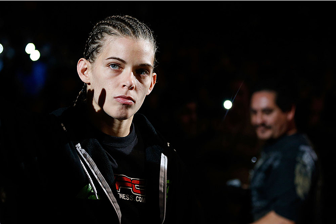 LAS VEGAS, NV - NOVEMBER 30:  Jessamyn Duke enters the arena before her fight against Peggy Morgan in their women's bantamweight fight during The Ultimate Fighter season 18 live finale inside the Mandalay Bay Events Center on November 30, 2013 in Las Vegas, Nevada. (Photo by Josh Hedges/Zuffa LLC/Zuffa LLC via Getty Images) *** Local Caption *** Jessamyn Duke