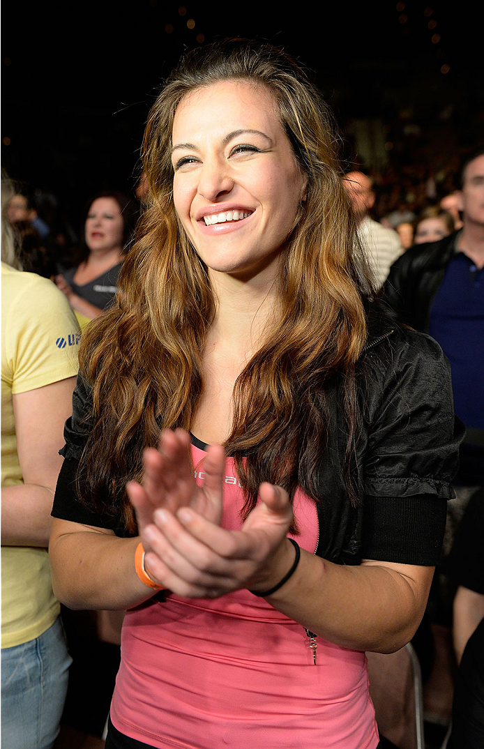 LAS VEGAS, NV - NOVEMBER 30:  UFC women's bantamweight fighter Miesha Tate cheers on Julianna Pena during her women's bantamweight final fight against Jessica Rakoczy during The Ultimate Fighter season 18 live finale inside the Mandalay Bay Events Center on November 30, 2013 in Las Vegas, Nevada. (Photo by Jeff Bottari/Zuffa LLC/Zuffa LLC via Getty Images) *** Local Caption *** Miesha tate