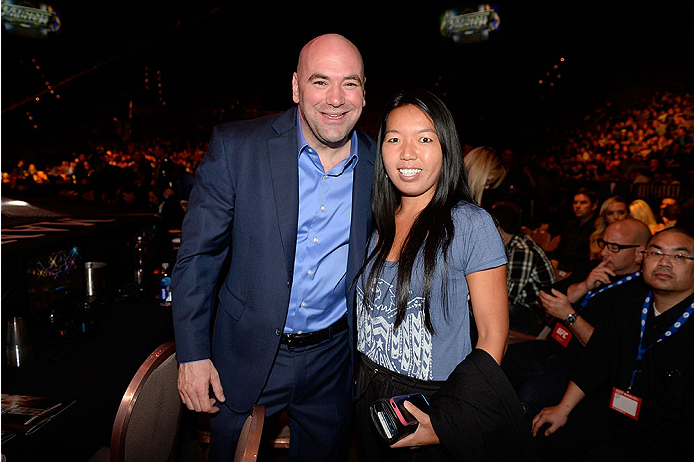 LAS VEGAS, NV - NOVEMBER 30:  UFC President Dana White (L) poses with US tennis player Vania King (R) before the fight between Julianna Pena and Jessica Rakoczy in their women's bantamweight final fight during The Ultimate Fighter season 18 live finale inside the Mandalay Bay Events Center on November 30, 2013 in Las Vegas, Nevada. (Photo by Jeff Bottari/Zuffa LLC/Zuffa LLC via Getty Images) *** Local Caption *** Dana White; Vania King