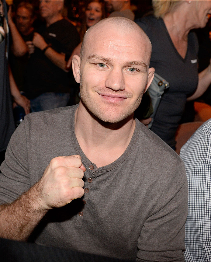 LAS VEGAS, NV - NOVEMBER 30:  UFC welterweight fighter Martin Kampmann sits Octagonside during the Julianna Pena and Jessica Rakoczy women's bantamweight final fight during The Ultimate Fighter season 18 live finale inside the Mandalay Bay Events Center on November 30, 2013 in Las Vegas, Nevada. (Photo by Jeff Bottari/Zuffa LLC/Zuffa LLC via Getty Images) *** Local Caption *** Martin Kampmann