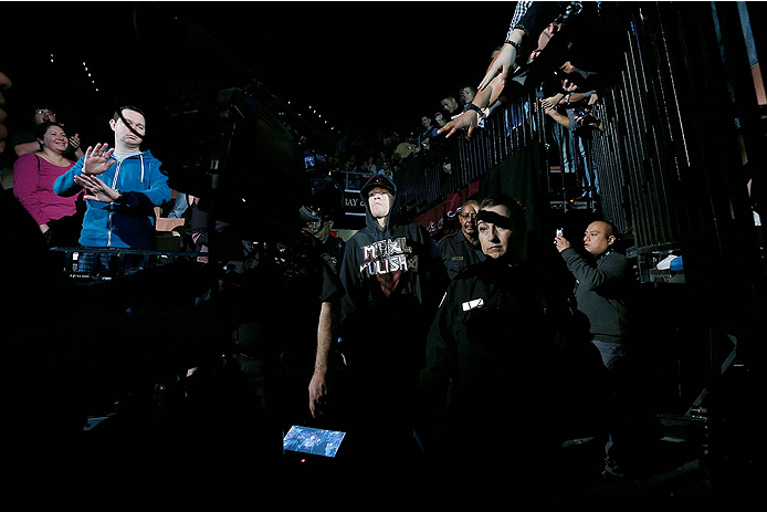 LAS VEGAS, NV - NOVEMBER 30:  Nate Diaz enters the arena before his fight against Gray Maynard in their lightweight fight during The Ultimate Fighter season 18 live finale inside the Mandalay Bay Events Center on November 30, 2013 in Las Vegas, Nevada. (Photo by Josh Hedges/Zuffa LLC/Zuffa LLC via Getty Images) *** Local Caption ***  Nate Diaz