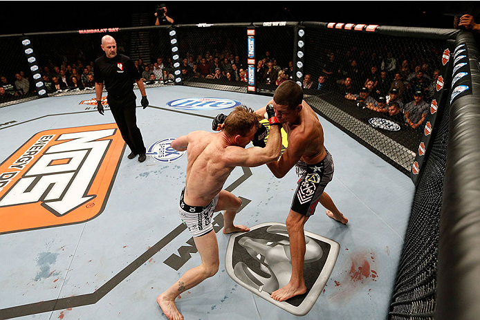 LAS VEGAS, NV - NOVEMBER 30:  (L-R) Gray Maynard punches Nate Diaz in their lightweight fight during The Ultimate Fighter season 18 live finale inside the Mandalay Bay Events Center on November 30, 2013 in Las Vegas, Nevada. (Photo by Josh Hedges/Zuffa LLC/Zuffa LLC via Getty Images) *** Local Caption *** Gray Maynard; Nate Diaz
