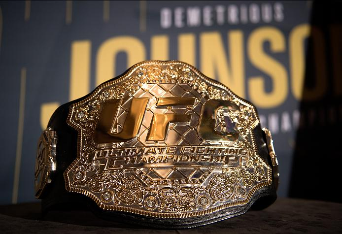 LAS VEGAS, NEVADA - APRIL 21:  A general view of UFC flyweight champion Demetrious Johnson's belt during the UFC 197: Ultimate Media Day at MGM Grand Hotel & Casino on April 21, 2016 in Las Vegas Nevada. (Photo by Brandon Magnus/Zuffa LLC/Zuffa LLC via Getty Images)