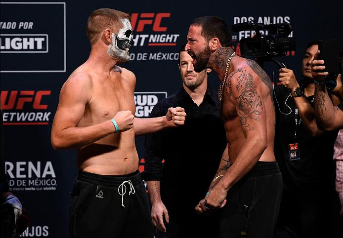 MEXICO CITY, MEXICO - NOVEMBER 04:  (L-R) Sam Alvey of the United States and Alex Nicholson of the United States face off during the UFC weigh-in at the Arena Ciudad de Mexico on November 4, 2016 in Mexico City, Mexico. (Photo by Jeff Bottari/Zuffa LLC/Zuffa LLC via Getty Images)