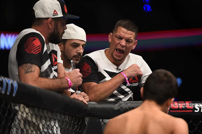 MEXICO CITY, MEXICO - NOVEMBER 05:  Nate Diaz yells at his teammate Chris Avila of the United States as he enters the Octagon before facing Enrique Barzola of Peru in their featherweight bout during the UFC Fight Night event at Arena Ciudad de Mexico on November 5, 2016 in Mexico City, Mexico. (Photo by Jeff Bottari/Zuffa LLC/Zuffa LLC via Getty Images)
