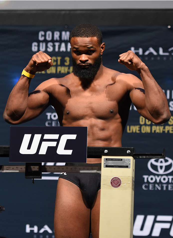 HOUSTON, TX - OCTOBER 02:  Tyron Woodley steps on the scale during the UFC 192 weigh-in at the Toyota Center on October 2, 2015 in Houston, Texas. Woodley's opponent, Johny Hendricks, was forced to withdraw due to medical reasons. (Photo by Josh Hedges/Zuffa LLC/Zuffa LLC via Getty Images)