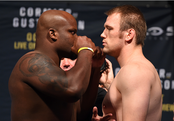 HOUSTON, TX - OCTOBER 02:  Derrick Lewis and Viktor Pesta face off during the UFC 192 weigh-in at the Toyota Center on October 2, 2015 in Houston, Texas. (Photo by Josh Hedges/Zuffa LLC/Zuffa LLC via Getty Images)