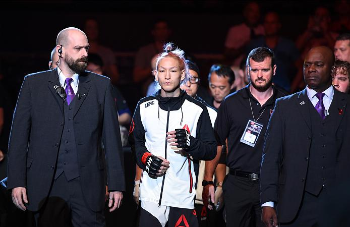 ROTTERDAM, NETHERLANDS - MAY 08:  Ulka Sasaki prepares to enter the Octagon before facing Willie Gates in their flyweight bout during the UFC Fight Night event at Ahoy Rotterdam on May 8, 2016 in Rotterdam, Netherlands. (Photo by Josh Hedges/Zuffa LLC/Zuffa LLC via Getty Images)