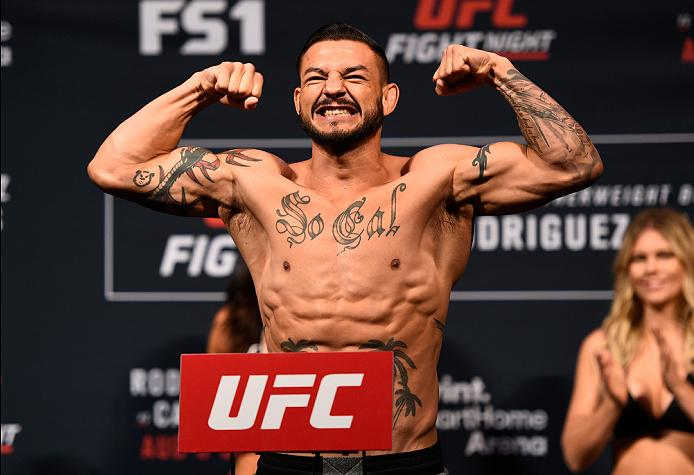SALT LAKE CITY, UT - AUGUST 05:  Cub Swanson steps on the scale during the UFC weigh-in at Vivint Smart Home Arena on August 5, 2016 in Salt Lake City, Utah. (Photo by Jeff Bottari/Zuffa LLC/Zuffa LLC via Getty Images)