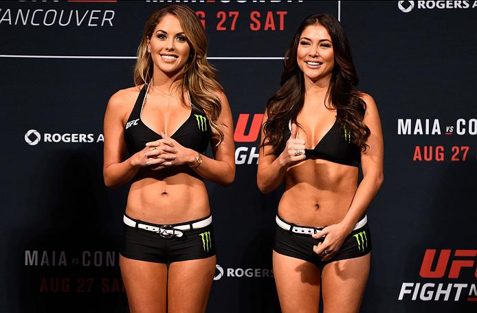 VANCOUVER, BC - AUGUST 26:  (L-R) UFC Octagon Girls Brittney Palmer and Arianny Celeste smile at the fans during the UFC Fight Night Weigh-in at Rogers Arena on August 26, 2016 in Vancouver, British Columbia, Canada. (Photo by Jeff Bottari/Zuffa LLC/Zuffa LLC via Getty Images)