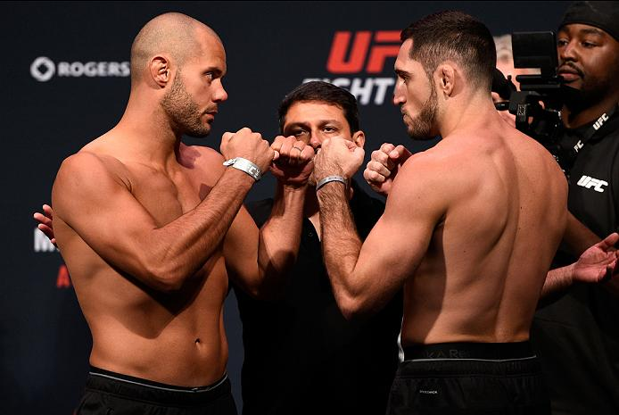 VANCOUVER, BC - AUGUST 26:  (L-R) Opponents Chad Laprise and Thibault Gouti of France face off during the UFC Fight Night Weigh-in at Rogers Arena on August 26, 2016 in Vancouver, British Columbia, Canada. (Photo by Jeff Bottari/Zuffa LLC/Zuffa LLC via Getty Images)