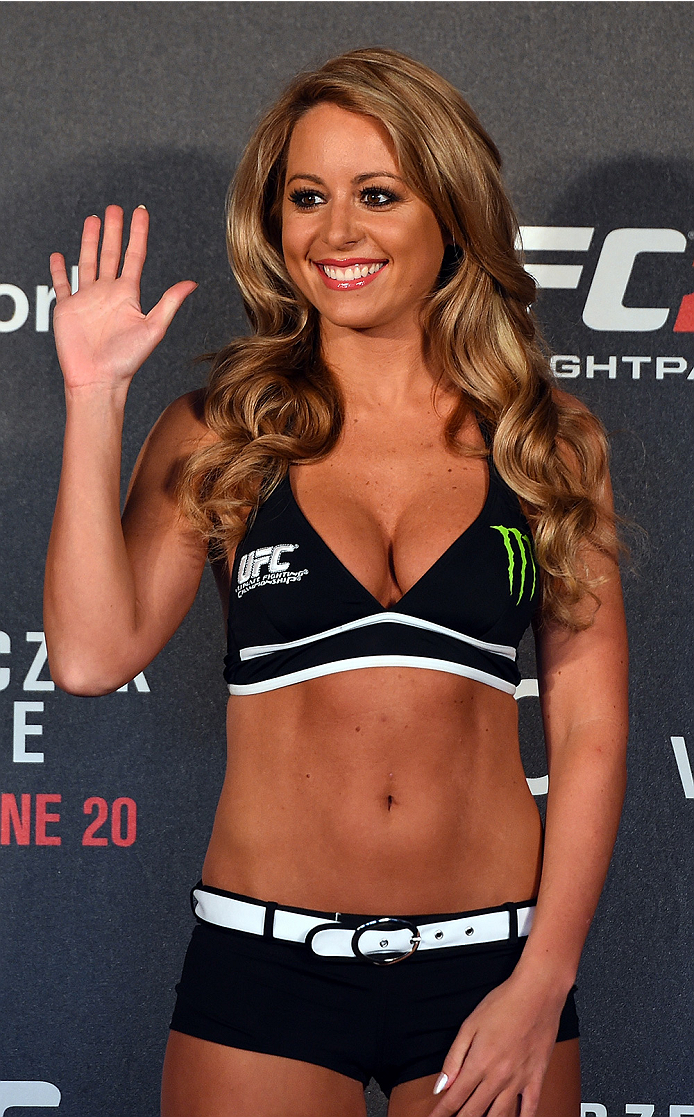 BERLIN, GERMANY - JUNE 19:   UFC Octagon Girl Carly Baker stands on stage during the UFC Berlin weigh-in at the O2 World on June 19, 2015 in Berlin, Germany. (Photo by Josh Hedges/Zuffa LLC/Zuffa LLC via Getty Images)