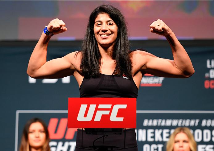 PORTLAND, OR - SEPTEMBER 30:  Ketlen Vieira of Brazil steps onto the scale during the UFC Fight Night weigh-in at the Oregon Convention Center on September 30, 2016 in Portland, Oregon. (Photo by Josh Hedges/Zuffa LLC/Zuffa LLC via Getty Images)