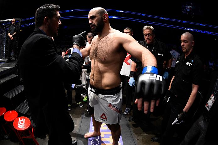PITTSBURGH, PA - FEBRUARY 21:  Shamil Abdurakhimov prepares to enter the octagon before facing Anthony Hamilton in their heavyweight bout during the UFC Fight Night event at Consol Energy Center on February 21, 2016 in Pittsburgh, Pennsylvania. (Photo by Jeff Bottari/Zuffa LLC/Zuffa LLC via Getty Images)
