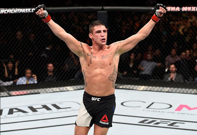 Diego Sanchez celebrates after defeating Marcin Held at their Fight Night in 2016