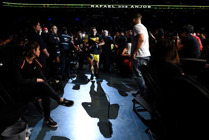 MEXICO CITY, MEXICO - NOVEMBER 05:  Rafael Dos Anjos of Brazil prepares to enter the Octagon before facing Tony Ferguson of the United States  in their lightweight bout during the UFC Fight Night event at Arena Ciudad de Mexico on November 5, 2016 in Mexico City, Mexico. (Photo by Jeff Bottari/Zuffa LLC/Zuffa LLC via Getty Images)
