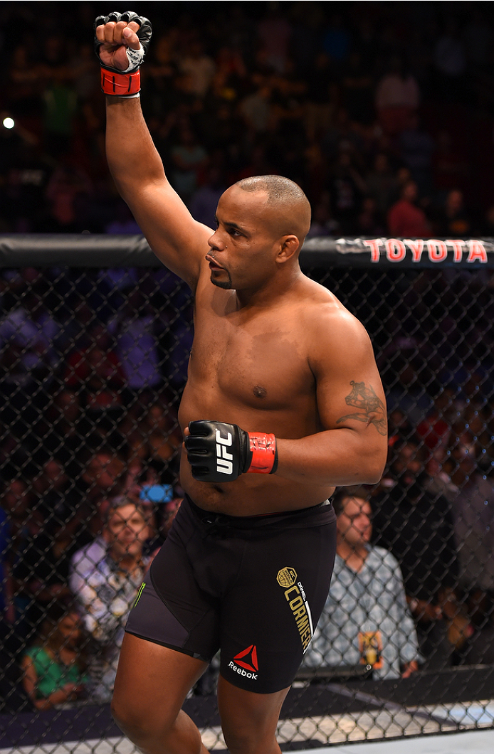 HOUSTON, TX - OCTOBER 03:  Daniel Cormier enters the octagon before facing Alexander Gustafsson in their UFC light heavyweight championship bout during the UFC 192 event at the Toyota Center on October 3, 2015 in Houston, Texas. (Photo by Josh Hedges/Zuffa LLC/Zuffa LLC via Getty Images)